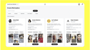 An example of what the creators marketplace looks like.